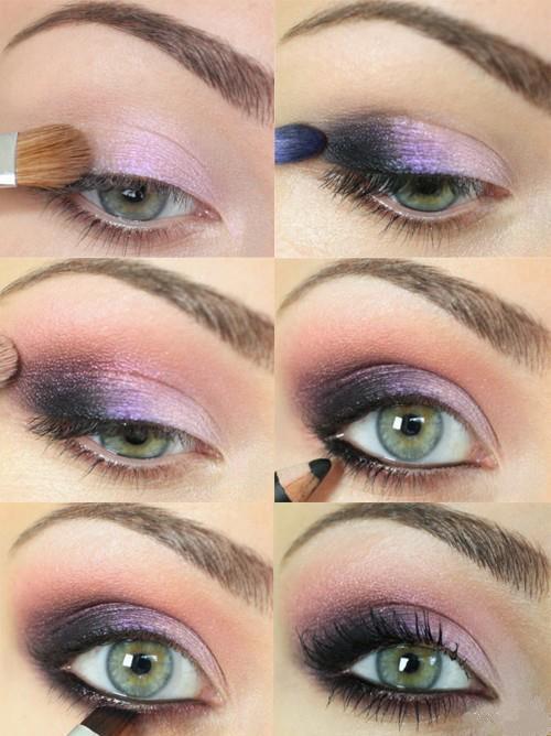 Passo a passo: Maquiagem dos olhos em degrade rosa ao cinza escuro